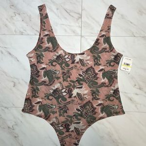 NWT Free People Paisley Printed Woven Bodysuit